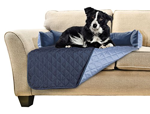 Furhaven Pet Sofa Buddy Pet Bed Furniture Cover, Medium, Navy/Light Blue