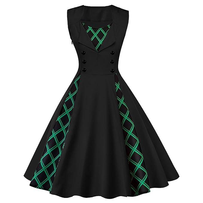 iBaste Vintage Vestido Fiesta Mujer Elegante Hepburn Clásico Rockabilly Cóctel Falda Cuadros Verdes Botones Decoración Vestidos