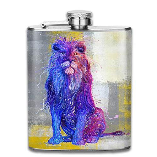 Men and Women Thick Stainless Steel Hip Flask Outdoor Mini Portable Lions Painting Art White Portable Adult Pocket Flagon Whiskey Container Flask Pocket 7 Oz 304 Thick for Unisex