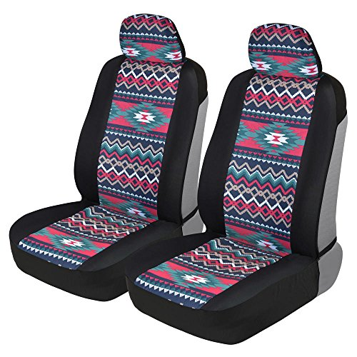 - BDK Two Tone Pattern Car Seat Covers - Sideless Chic Style - Soft & Flexible Polyester (Inca Tocapu Pattern)