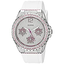 GUESS Women's U0032L6 Sporty Silver-Tone Watch with White Dial , Crystal-Accented Bezel and Silicone Strap Buckle