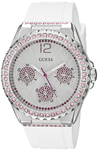 GUESS Women's U0032L6 Sporty Silver-Tone Watch with White Dial , Crystal-Accented Bezel and Silicone Strap - Guess Watch Pink