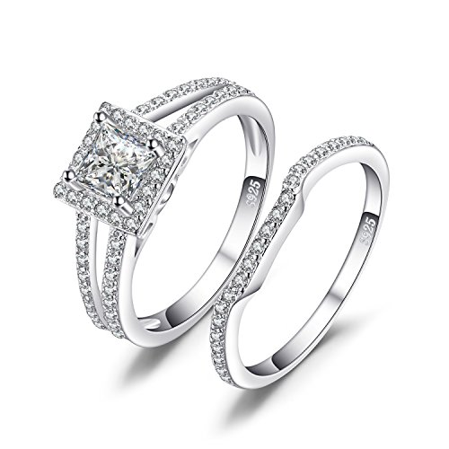 Jewelrypalace Women's 1.3ct Princess Cubic Zirconia Wedding Band Engagement Ring Sets 925 Sterling Silver Size 6