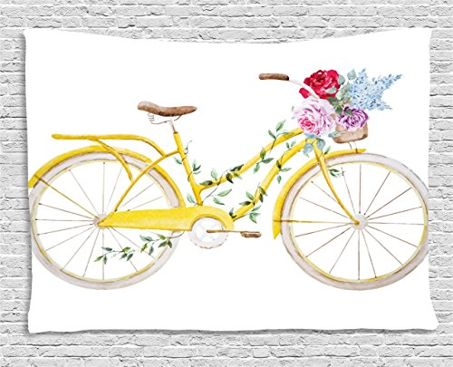 Vintage Tapestry by Ambesonne, Watercolor Style Effect Bicycle with Leaves and Flowers in the Basket Pattern, Wall Hanging for Bedroom Living Room Dorm, 80WX60L Inches, White and Yellow (Flowers In The Basket)