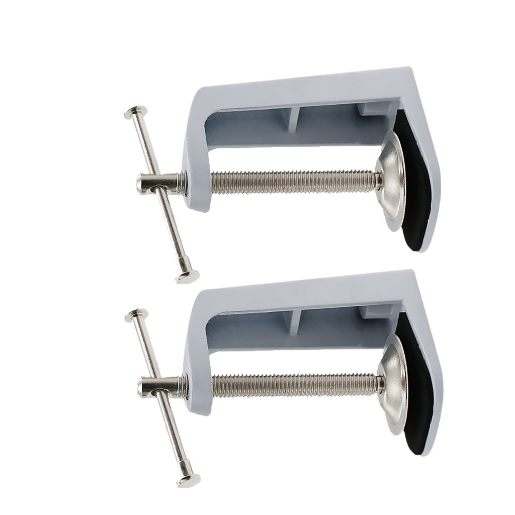 FITYLE 2 Pack Stainless Steel Adjustable Arm Clamp Table Lamp Clip Desk Clamp, ensures lasting durability