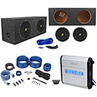 (2) Kicker 44CWCS104 CompC 10 1000w Subwoofers+Sealed Sub Box+Amplifier+Amp Kit