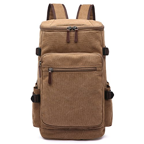 (Backpack for Men, Yousu Travel Canvas Duffel Bag Backpack Vintage High College School Bookbags Hiking Camping Rucksack Casual Daypack Coffee)