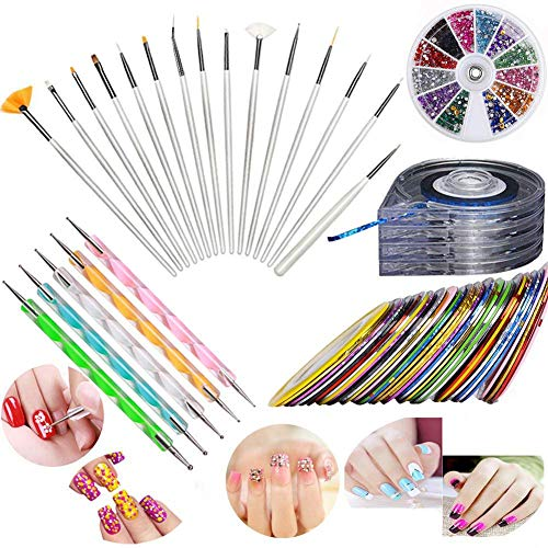JOYJULY Nail Art Kit includes 30 Striping tape & 4Pcs Striping Roller Box & 12 Colors Rhinestones & 5pcs Dotting Pen & 15pcs Brush Set (Pro Nail Art Set)