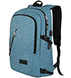 MANCRO Laptop School Backpack USB Port Water-Resist Anti-Theft 15.6in Deal
