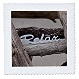 3dRose Andrea Haase Still Life Photography - Word Relax On Driftwood - 16x16 inch quilt square (qs_276260_6)