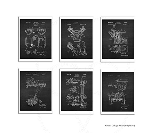 Willys Jeep Set of 6 Unframed Patent Art Prints, size 8x10