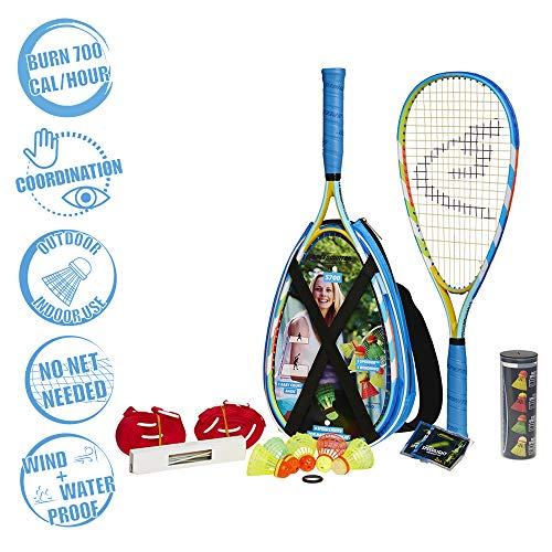 - Speedminton S700 Set - Original Speed   Badminton/crossminton All-Round Set That Includes 2 Rackets, 5 Speeder Tube, Easy Court, Bag