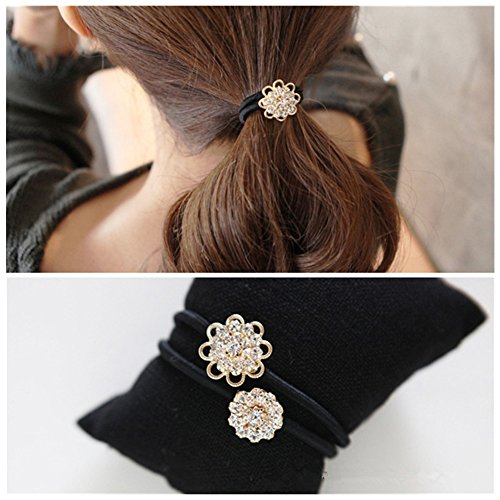 Korean Tie (Lovef 2 Pcs Korean Style Hair Jewelry Gold Plated Crystal Rhinestone Flower Elastic Ponytail Holder Hair Tie Rope Band Ring Rubber Band Hair Accessories (13#))