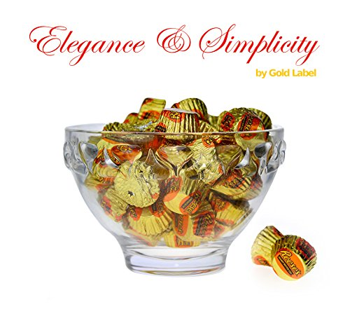 Godinger Hersheys Kisses Banded 6 inch Crystal Candy Bowl with 2 lbs. Reeses Mini Peanut Butter Cups – Crystal Kiss Gift set for Weddings, Anniversaries and Special Occasions