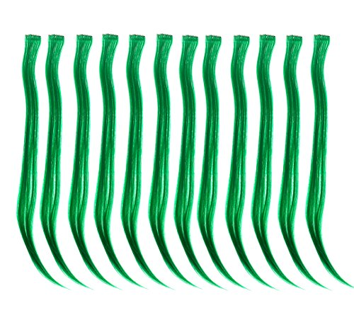 SWACC 12 Pcs Straight One Color Party Highlights Clip on in Hair Extensions Colored Hair Streak Synthetic Hairpieces (Green)