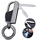 6 in 1 Multifunctional Keychain Flashlight Multitool, Zinc Alloy Key Chain with LED Light, Knife, Bottle Opener and 2 Key Rings (Gray)