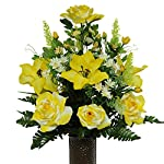 Yellow-Roses-and-Amaryllis-Mix-Artificial-Bouquet-featuring-the-Stay-In-The-Vase-Designc-Flower-Holder-MD1235