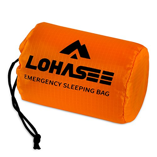 LOHASEE Compact Ultra Lightweight Sleeping Bag - Waterproof Ultralight Thermal Bivy Sack Cover, Emergency Space Blanket Liner Bags for Emergency Shelter, Tent Camping & Survival Gear Kit