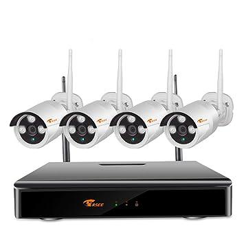 CORSEE Kit Camaras Vigilancia WiFi, 8 Canales WiFi De Videovigilancia NVR 4 Piezas 960P CCTV