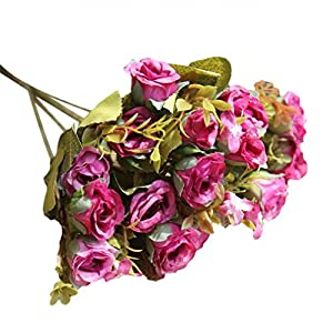 Litetao 2017 Fashion Artificial Silk Fake Flowers Roses Floral Decor/Outdoor/Festival Gift/Garden Wall Decoration/Bridal Bouquet Wedding Party Home Decoration (E) 30