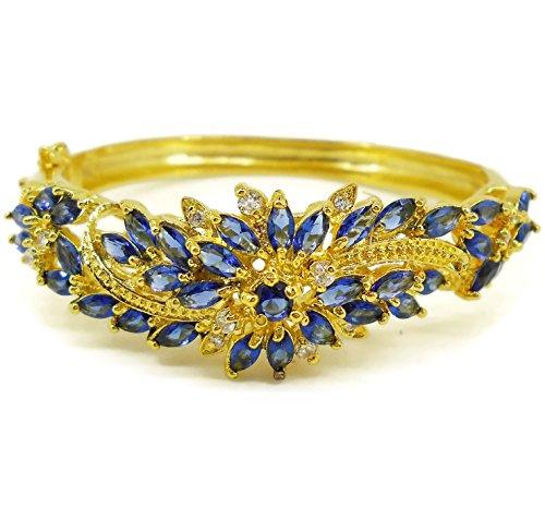 - Sapphire Flower Cubic Zirconia 18k 22k 24k Yellow Gold Plated Bracelets Bangle Jewelry