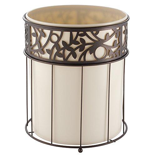InterDesign Vine Wastebasket Trash Can, Vanilla/Bronze Interdesign Bathroom