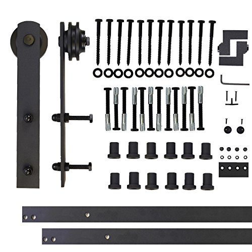 Vancleef 16FT Single Door Kit Sliding Barn Door Hardware, Straight Design, Industrial Strength, Black Rustic, Interior and Exterior Use, With Quiet Glide Roller and Descriptive Installation Manual 8' Chrome Finish Adjustable Wrench