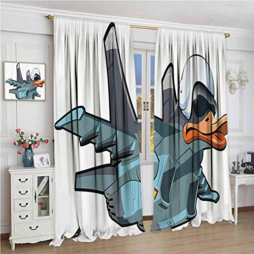 Airplane Decor Collection Premium Blackout Curtains Jet Bird Angry Comic Aircraft Army German Pilot Helmet Duckling Funny Character Image Kindergarten Noise Reduction Curtains W108 x L108 Inch Grey W (Angry Bird Curtains)
