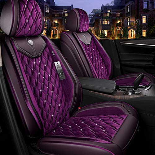 HOSHT Luxury Car Seat Cover Full Set Universal, Car Seat Cushion Autumn and Winter Plush Fabric Front and Back Seat Protect Covers with Steering Wheel Cover (Color : Purple, Size : 11 Pieces)