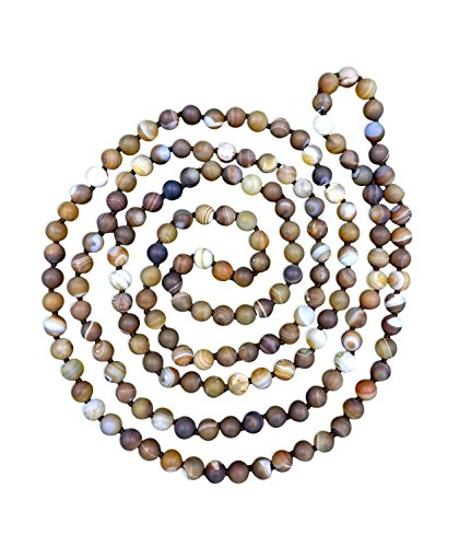 - MGR MY GEMS ROCK! BjB Long Endless Matte Finish Semi-Precious Stone Necklace, 60 Inches Long. (Brown Striped Agate)