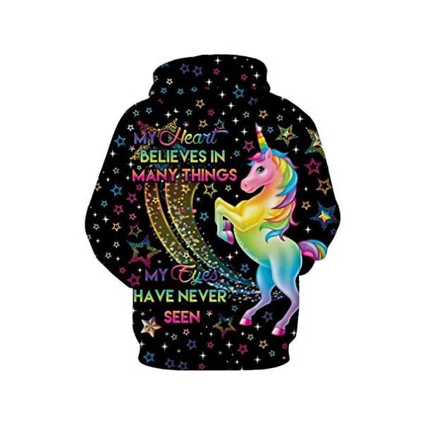 Rainbow Unicorn Print Cool Hooded Sweatshirt Cute 5