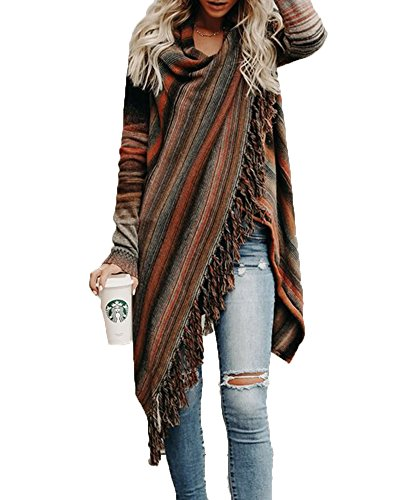 Women's Chunky Turtle Cowl Neck Asymmetric Hem Wrap Sweater Coat with Button Details Brown