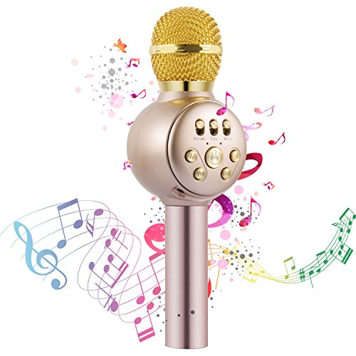 Wireless Karaoke Microphone, InThoor Professional Portable Bluetooth Handheld Microphone Home Party Birthday Speaker Machine for Singing Recording for iPhone/Android/iPad, PC and All Smartphone
