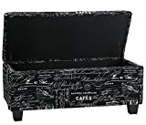 Black and White Ottoman Cortesi Home Mamet Script Fabric Storage Ottoman Long Bench, Black
