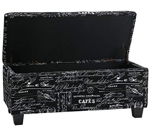 Bedroom Traditional Bench - Cortesi Home Mamet Script Fabric Storage Ottoman Long Bench, Black
