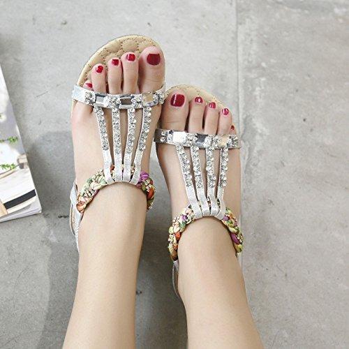 signore da casuali spiaggia morbido fondo strass della sandali antiscivolo estate piatto black moda fondo scarpe open toe casual bohemien Le YMFIE dolce xw4gE