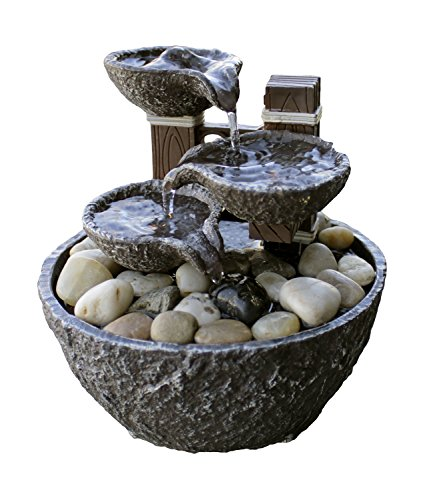 """Price comparison product image 5.5""""H Tiered Rock Bowl Dual Power LED Fountain with Natural River Rocks (Adapter NOT Included)"""
