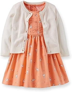 Baby Girls' 3 Piece Cardigan Dress Set - Peach - Bunnies (3 Months)