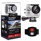 AKASO EK7000 4K WIFI Sports Action Camera Ultra HD 12MP Waterproof DV Camcorder 170 Degree Wide Angle 2 Inch LCD Screen w/ 2.4G Wireless Remote Control/ 2 Rechargeable Batteries/ 19 Mounting Kits-Silver