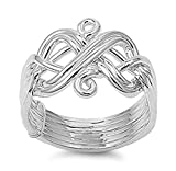 Sterling Silver Women's Difficult Weave Knot Puzzle Ring (Sizes 6-12)