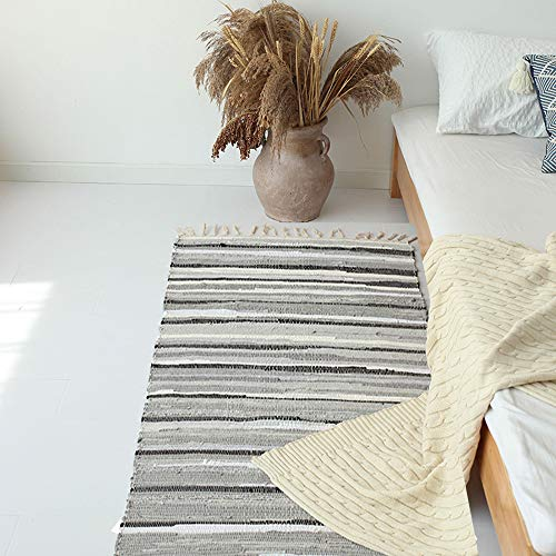 HEBE Extra Long Cotton Area Rug Runner 2'3x6' Feet Reversible Hand Woven Cotton Throw Rug Floor Mat Carpet Runner for Kitchen Bedroom Entryway Laundry -