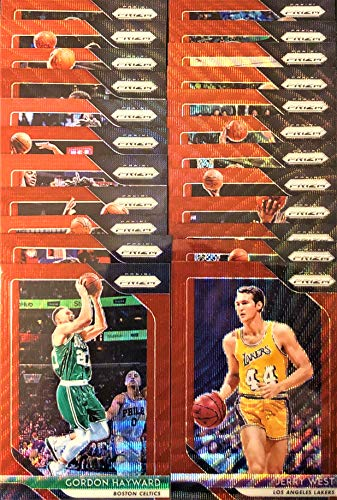 """(25) Fifteen Count Lot of 2018/19 Panini PRIZM""""RUBY WAVE"""" Refractor Basketball Cards - All Different!"""
