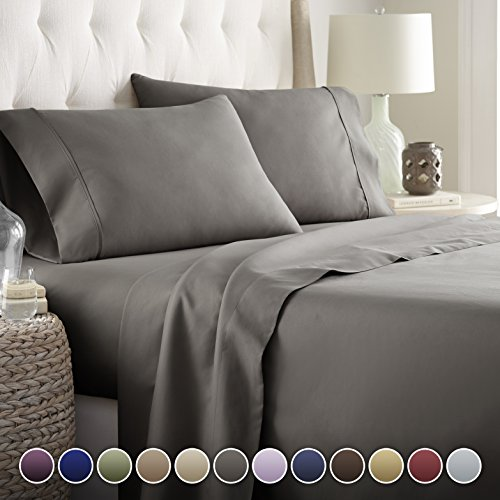 Great Hotel Luxury Bed Sheets Set  1800 Series Platinum Collection Deep  Pocket,Wrinkle U0026 Fade Resistant (Queen,Gray)