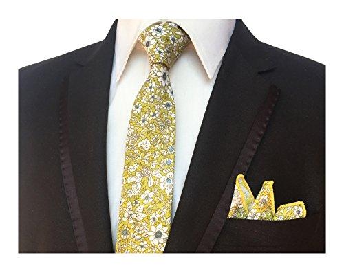 Men's Lemon Yellow Floral Ties Narrow Necktie Cotton Ties Print Casual Neck Tie