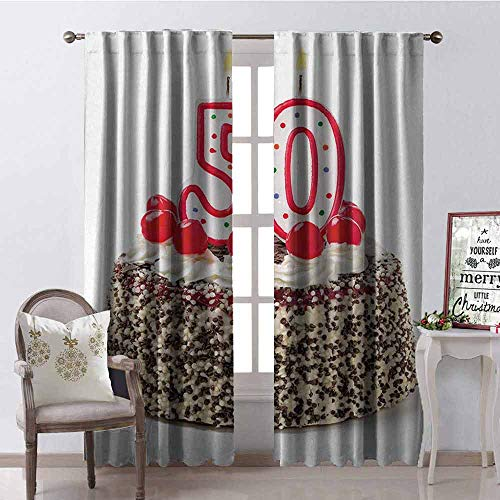 GloriaJohnson 50th Birthday Shading Insulated Curtain Creamy Cake with Cherries Burning Candles Chocolaty Yummy Delicious Desert Soundproof Shade W52 x L84 Inch Multicolor Cherry Blossom Cake Candle