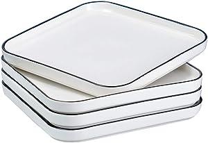 BonNoces 10 Inch Porcelain Dinner Plate, Elegant White with Black Edges Design, Classic Square Serving Plate for Steak, Pasta, and Salad, Set of 4
