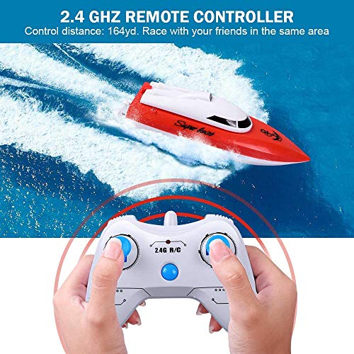 KINGBOT RC Boat Rmote Control Boat for Pools & Lakes 2.4GHz 10KM/H High Speed Radio Electric Racing Boat for Kids Adults Boys Girls with 20Mins of Playing Time