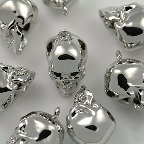 Annielov 4 Pieces of Shiny Glossy Gold Skull Beads Pendants Charms Connectors Links Metal Beads Pendants Charm for Earrings Necklace Bracelets etc. Jewelry Making Supplies P-57-SV