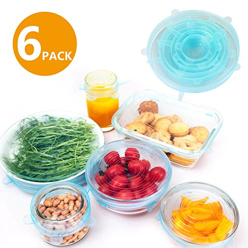 tretch Install Lids 6-Pack of Various Sizes, Food Grade Material with Microwave-Safe Dishwasher-Safe Replacement lids for Bowls Pants Pots ()