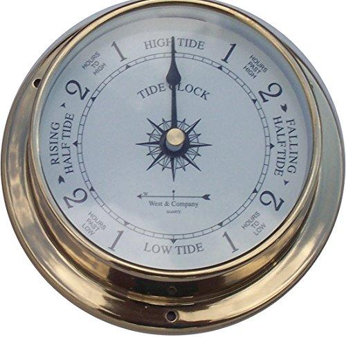 4 1/2 Nautical brass tide clock by West & Company